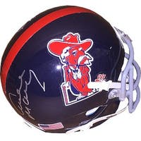 Archie Manning signed Ole Miss Rebels TB Schutt Authentic Colonel Reb Logo Mini Helmet back sig