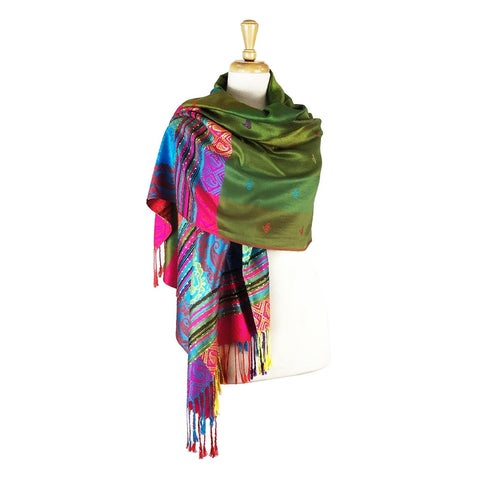 """Pashmina Wrap Shawl Scarf Double Side Exotic Tropical Colorful - 28"""" x 70"""" with fringes"""