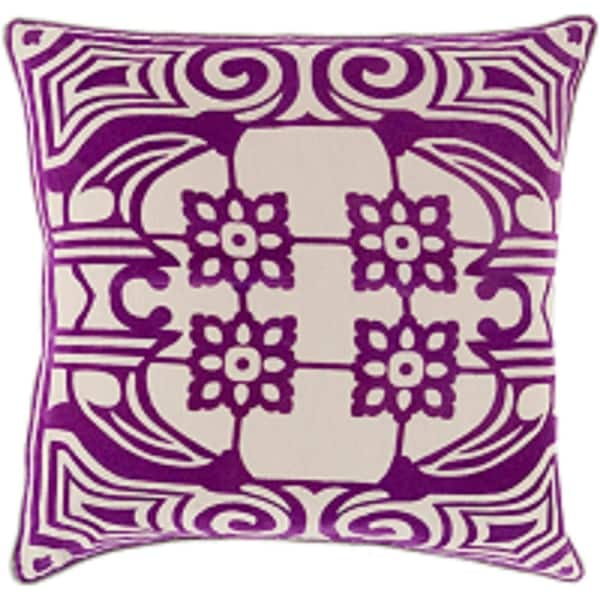 "20"" Purple and Brown Floral Pattern Decorative Indoor Square Throw Pillow"