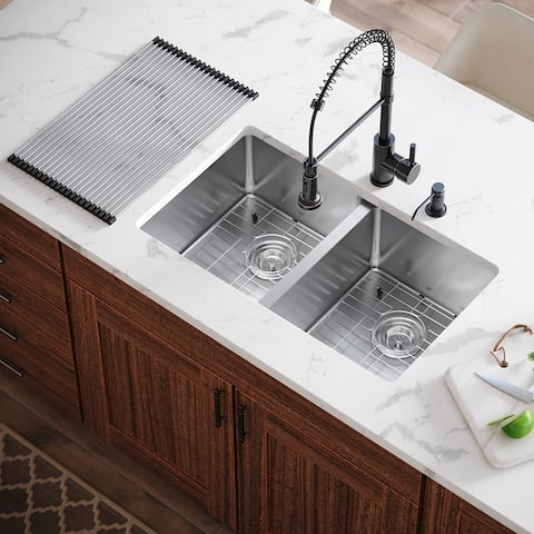 MR Direct All-in-one Double-Bowl Kitchen Sink, 31 inch