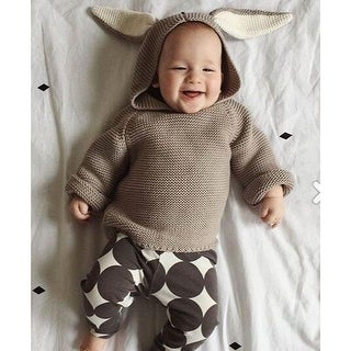 Autumn Baby Boys Sweaters 3D Rabbit Cotton Pullover Kids Girls Knitted Sweater for 1-5Y Girls Boys Cardigan