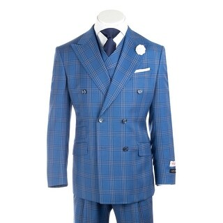 Tiglio Rosso EST Royal Blue with White and Navy Windowpane Wide Leg, Pure Wool Suit & Vest RB0277/501/6