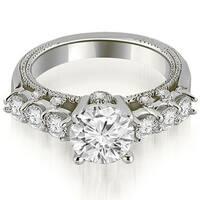 0.95 cttw. 14K White Gold Milgrain Round Cut Diamond Engagement Ring