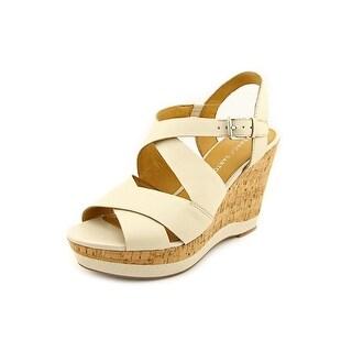 Franco Sarto Shiver Open Toe Leather Wedge Sandal