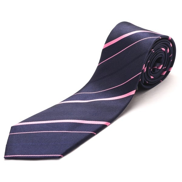 Luciano Barbera Men's Slim Silk Neck Tie Navy Pink