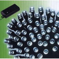 Set of 240 Cool White LED Battery Operated 8-Function Christmas Lights -Blk Wire - CLEAR