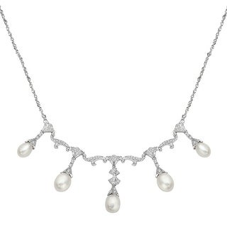Freshwater Pearl and 3/8 ct Diamond Necklace in 14K White Gold