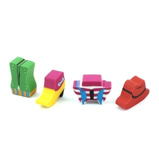 Unique Bargains 4 Pcs Red Yellow Cap High Heels Shaped Stationery Rubber Erasers for Students