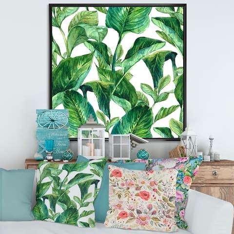 Designart 'Foliage of Tropical Leaves' Tropical Framed Canvas Wall Art Print