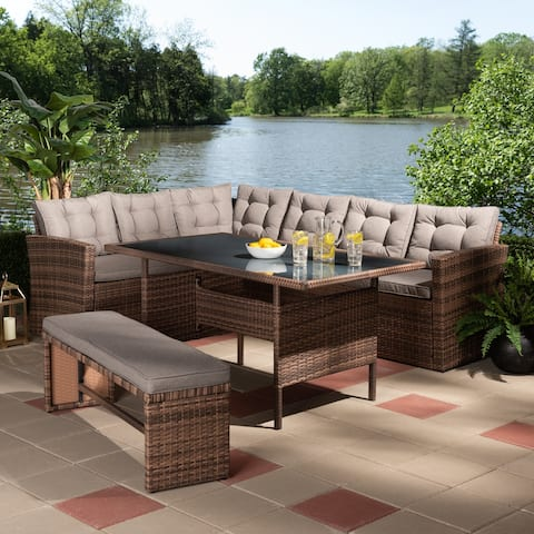Angela Modern and Contemporary Grey Fabric Upholstered and Brown Finished 4-Piece Woven Rattan Outdoor Patio Set