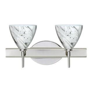 Besa Lighting 2SW-1779MG Mia 2 Light Reversible Halogen Bathroom Vanity Light with Marble Grigio Glass Shades