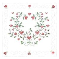 """Stamped White Quilt Blocks 18""""X18"""" 6/Pkg-Heart Vine"""