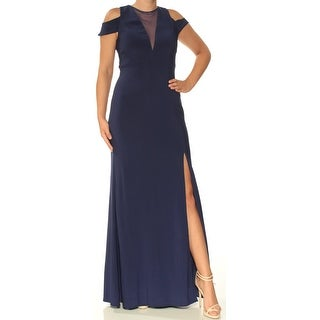 Womens Navy Short Sleeve FullLength Sheath Evening Dress Size: 6