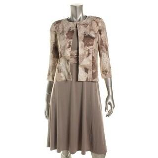 Jessica Howard Womens Petites Jacket Dress Floral Embellished - 6P