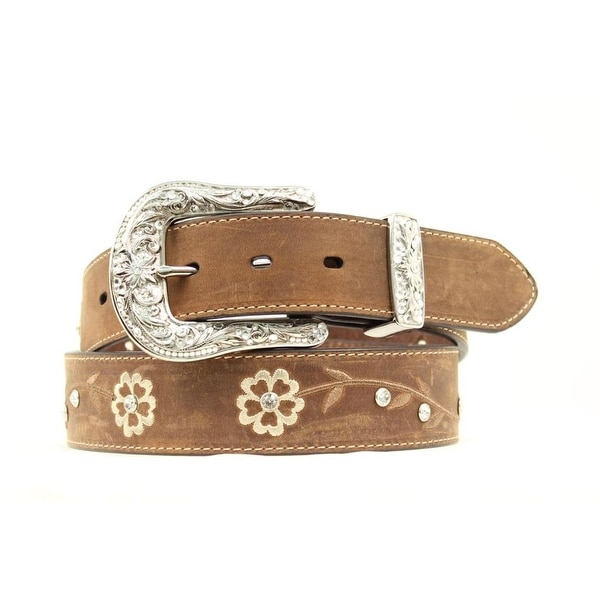 Ariat Western Belt Womens Embroidered Scrolling Flower Brown