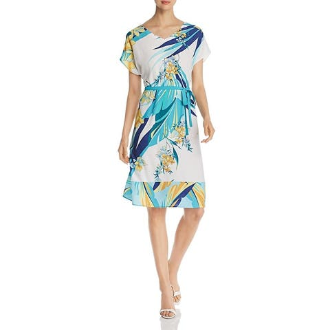 Basler Womens Tropical Casual Dress Floral A-Line - White/Blue