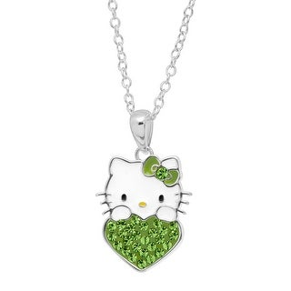 Girl's Hello Kitty August Heart Pendant with Crystals in Sterling Silver-Plated Brass - Green