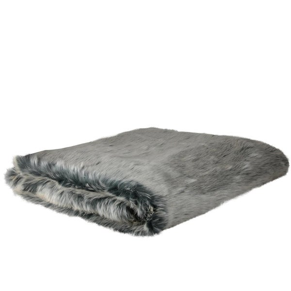 "White and Gray Faux Fur Super Plush Throw Blanket 50"" x 60"""