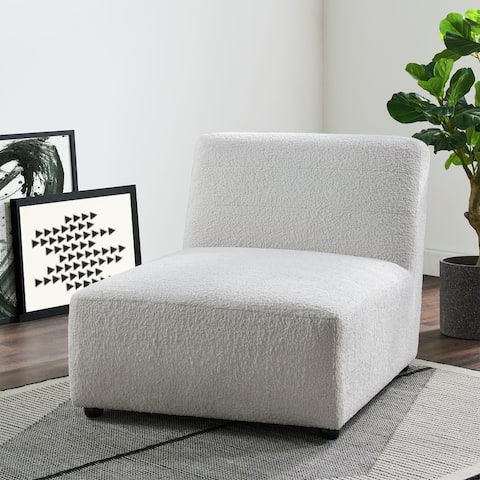 Picket House Furnishings Axelle Faux Sheep Accent Lounger in White