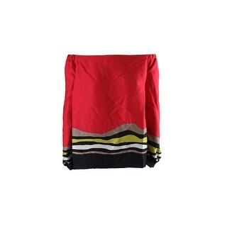 Rachel Rachel Roy Plus Size Red Off-The-Shoulder Striped Top 18W