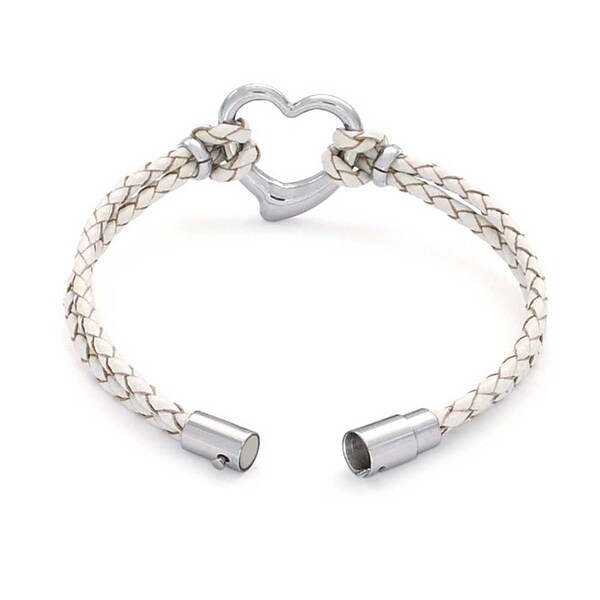 Paved Cubic Zirconia Tube Braided Leather Bracelet with Cubic Zirconia Stainless Steel handmade. Genuine Leather