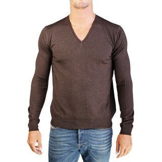 Prada Men's Virgin Wool V-Neck Sweater Brown - L