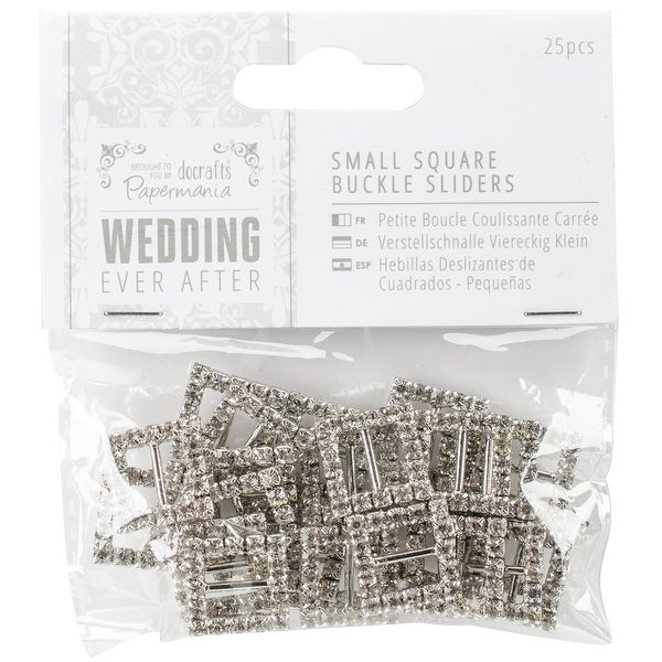 Papermania Ever After Wedding Buckle Ribbon Sliders 25/Pkg-Square