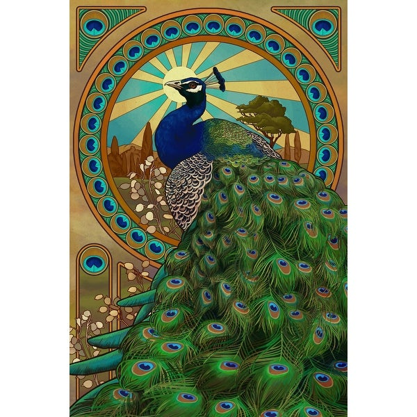 Peacock - Art Nouveau - LP Artwork (100% Cotton Towel Absorbent)