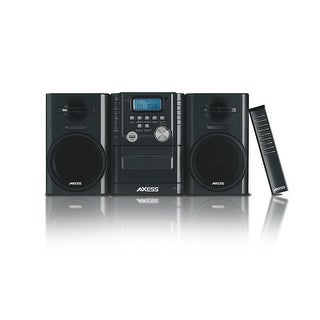 Axess Mini Entertainment System AM FM USB CD MP3 Player Cassette Recorder Headphone & Aux Jack