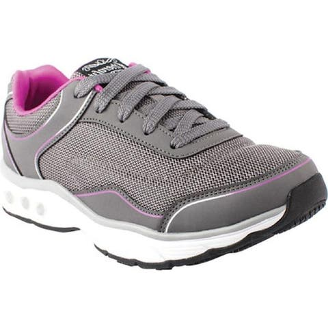 Therafit Women's Clarissa Walking Shoe Charcoal Vegan Leather