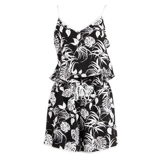 Vince Camuto Womens Textured Printed Romper