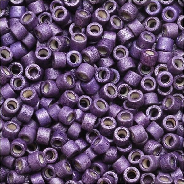 Miyuki Delica Seed Beads 11/0 Galvanized Matte Eggplant Purple DB1174 7.2 Grams