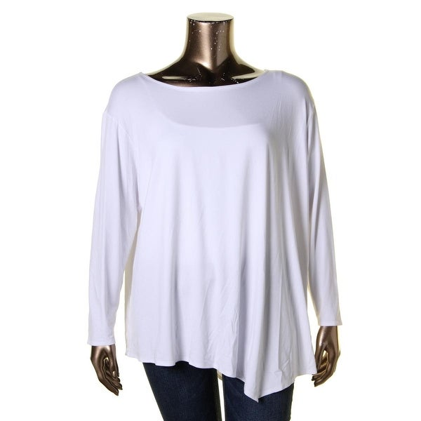 Eileen Fisher Womens Plus Casual Top Stretch Heathered