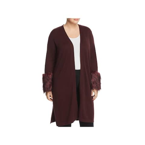 Vince Camuto Womens Plus Cardigan Sweater Faux-Fur Cuff Open Front - 1X