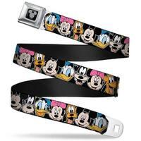 Mickey Silhouette Black Silver Classic Disney Character Faces Black Webbing Seatbelt Belt