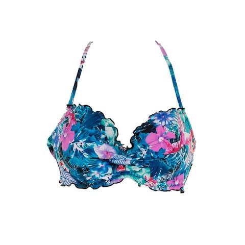 Sundazed Blue Pink Nixie Floral Underwire Bra-Sized Halter Bikini Top 36C