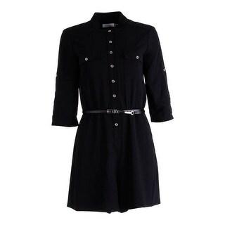 Calvin Klein Womens Textured Adjustable Sleeves Romper