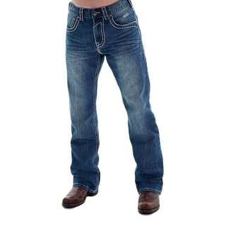 B. Tuff Western Denim Jeans Mens Work Hard Bootcut Crinkle Med