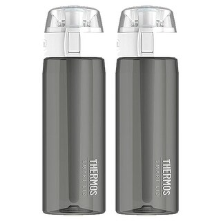 Thermos 24oz Connected Hydration Water Bottle with Smart Lid (Smoke Gray) - 2PK