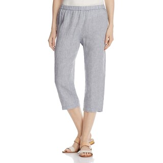 Eileen Fisher Womens Petites Cropped Pants Smocked Waist Organic - pl