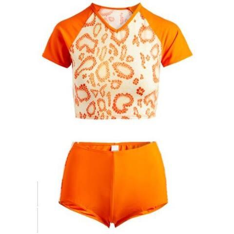 2 pc rash guard set orange / orange animal