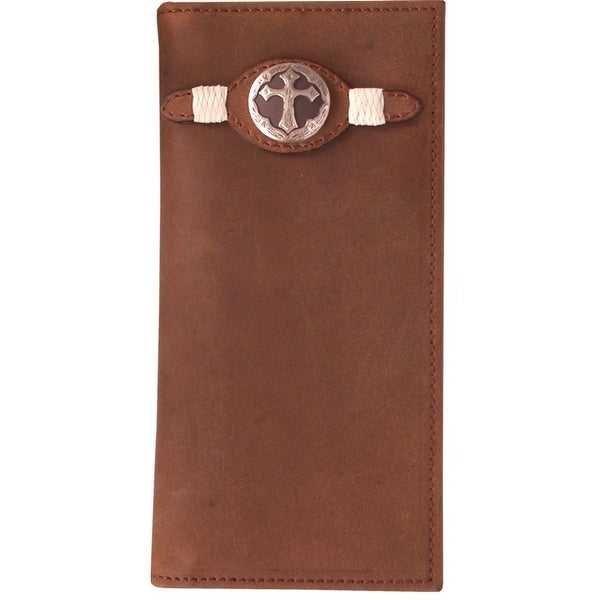 3D Western Wallet Men Leather Rodeo Checkbook Rawhide Brown - One size