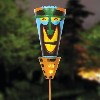 "Outdoor Tiki Torches - Solar Powered LED Light - Metal Yard Art - 48"" High - Big Happy Smile - Multi-Colored"