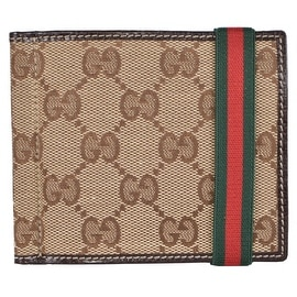 New Gucci Men's 224187 Beige Canvas GG Red Green Web Band Money Clip Wallet
