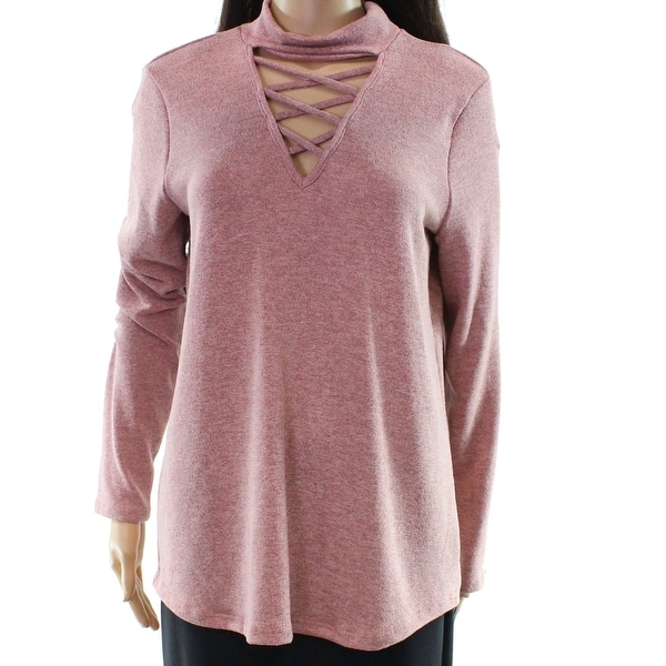 d17a687d21 Shop Promesa Red Women s Size Medium M Mock Neck Lace Up Sweater - On Sale  - Free Shipping On Orders Over  45 - Overstock - 22362603