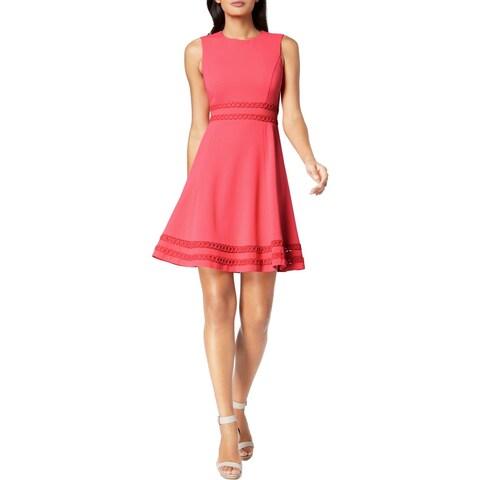 Calvin Klein Womens Cocktail Dress Above Knee, Mini Corded Trim
