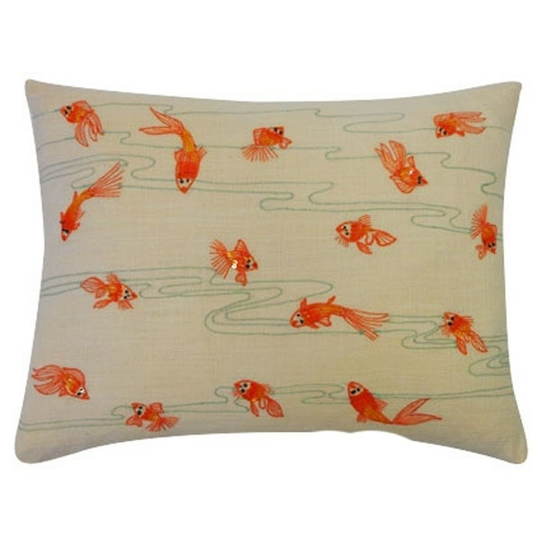 Vivai Home Orange Aquarium Fish Rectangle 12x 16 Cotton Feather Throw Pillow