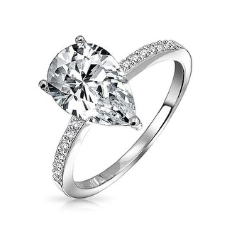 Bling Jewelry .925 Silver 2.25ct Pear Solitaire CZ Engagement Ring