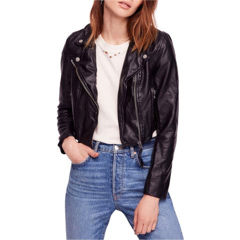 Free People Womens Heartache Motorcycle Jacket, black, Large