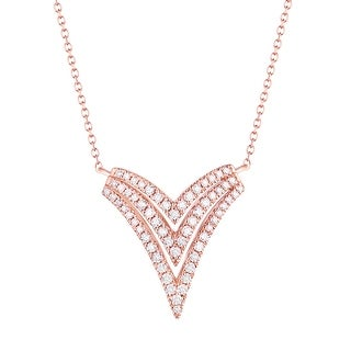 Prism Jewel 0 31Ct Round G H I1 Natural Diamond V Shaped Necklace With Chain